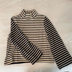 NWT L Cream and Navy Madewell Cowlneck